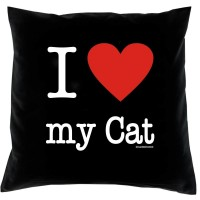 "Coussin ""I LOVE CAT"""