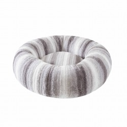 Corbeille DONUT gris rayures blanche