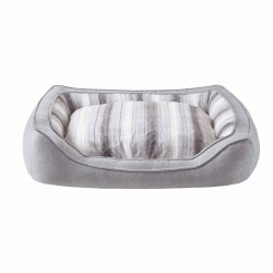 Corbeille rectangle pour chien gris rayures blanche